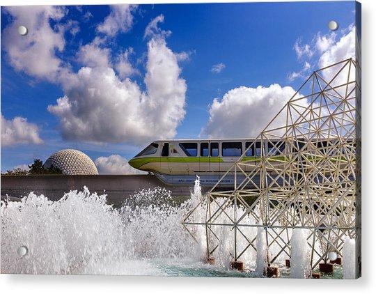 Monorail And Spaceship Earth Acrylic Print