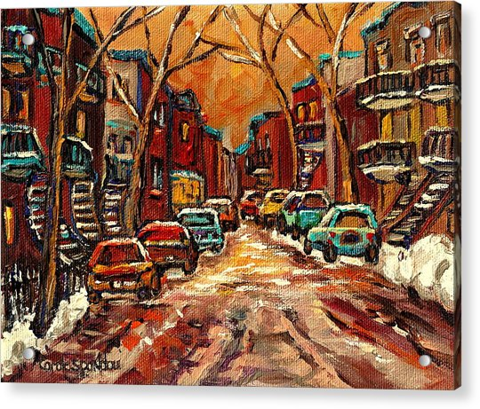 Montreal Streets In Winter Acrylic Print