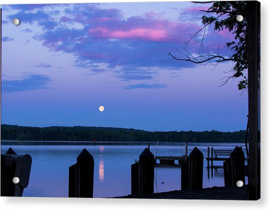 Moon And Pier Acrylic Print