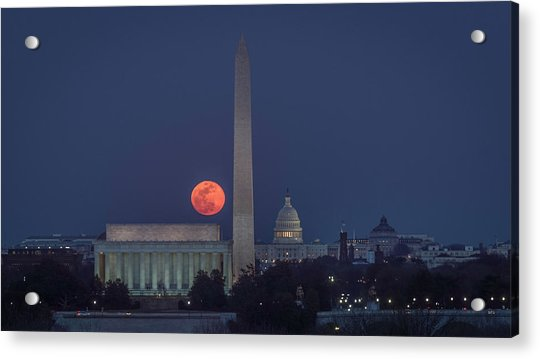 Moon Over Monuments Acrylic Print by Michael Donahue