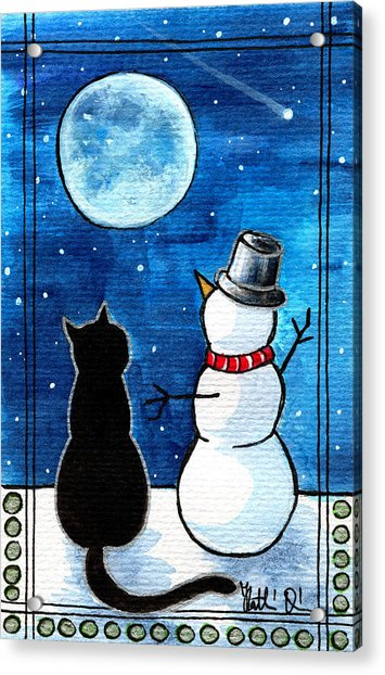 Moon Watching With Snowman - Christmas Cat Acrylic Print