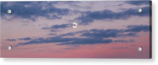 Moonrise In Pink Sky Acrylic Print