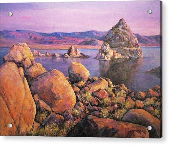 Morning Colors At Lake Pyramid Acrylic Print