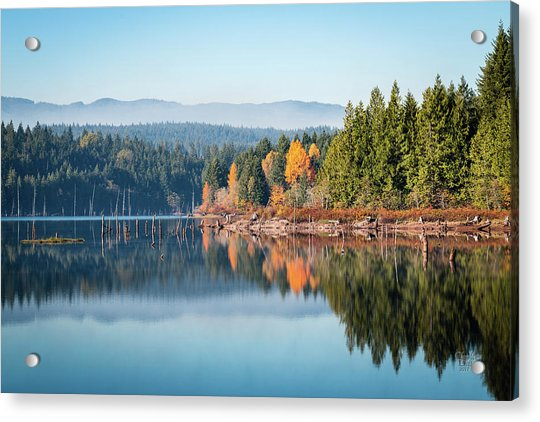 Morning Mist On Distant Mountains Acrylic Print