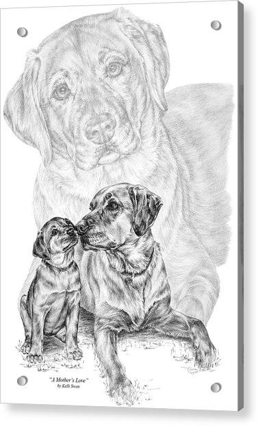 Mother Labrador Dog And Puppy Acrylic Print