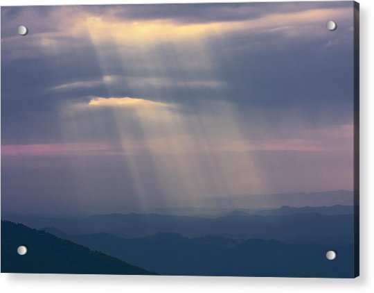 Mountain God Rays Acrylic Print