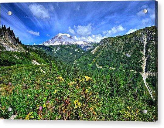 Mt. Rainier Through The Clouds  Acrylic Print
