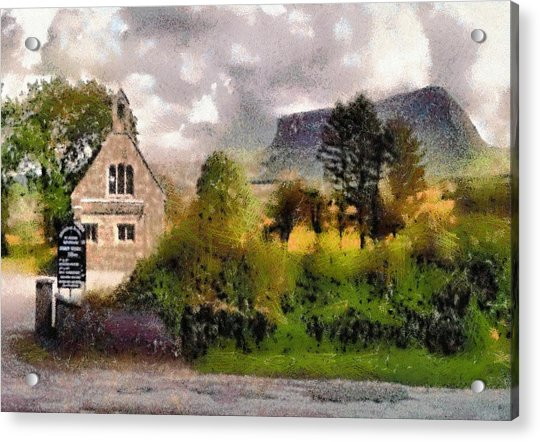 Mullaghnaneane Church And Ben Bulben Acrylic Print