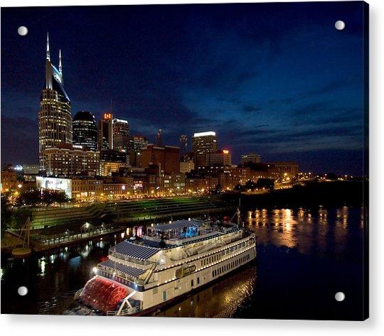 Nashville Skyline And Riverboat Acrylic Print