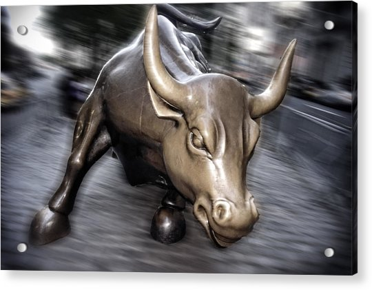 Acrylic Print featuring the photograph New York Bull Of Wall Street by Juergen Held