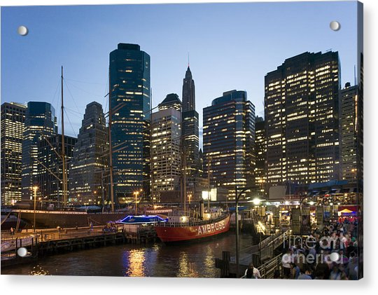 Acrylic Print featuring the photograph New York Manhattan Seaport by Juergen Held