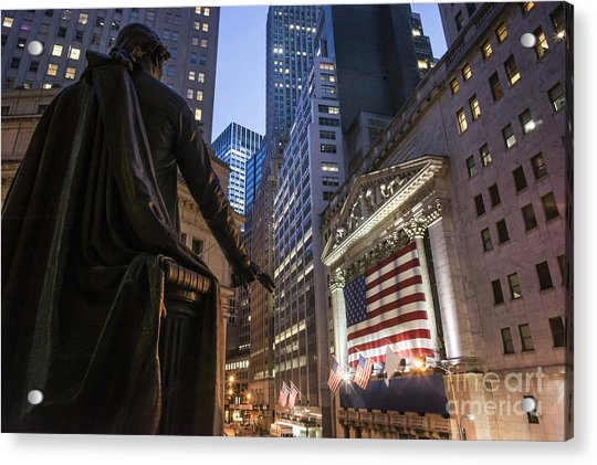 Acrylic Print featuring the photograph New York Wall Street by Juergen Held