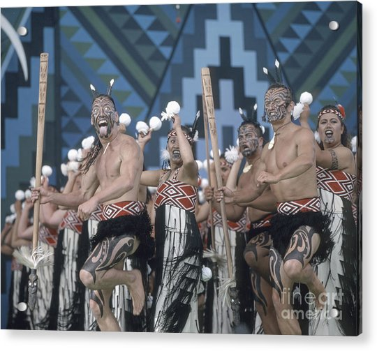 Acrylic Print featuring the photograph New Zealand,north Island,  Rotorua Arts Festival,dance And Singi by Juergen Held