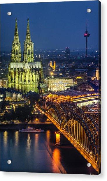 Night Falls Upon Cologne 1 Acrylic Print