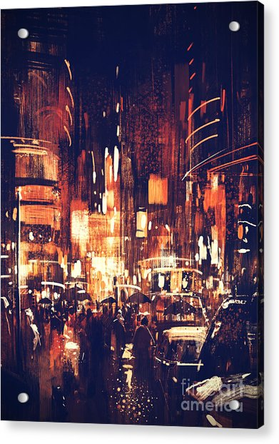 Acrylic Print featuring the painting Night Life by Tithi Luadthong