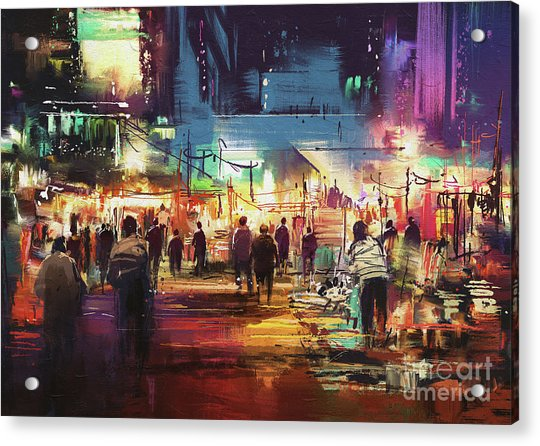 Acrylic Print featuring the painting Night Market by Tithi Luadthong