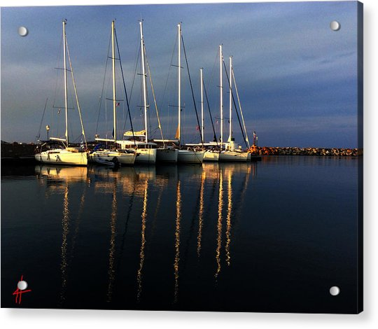 Acrylic Print featuring the photograph Night On Paros Island Greece by Colette V Hera  Guggenheim