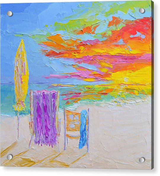No Need For An Umbrella - Sunset At The Beach - Modern Impressionist Knife Palette Oil Painting Acrylic Print