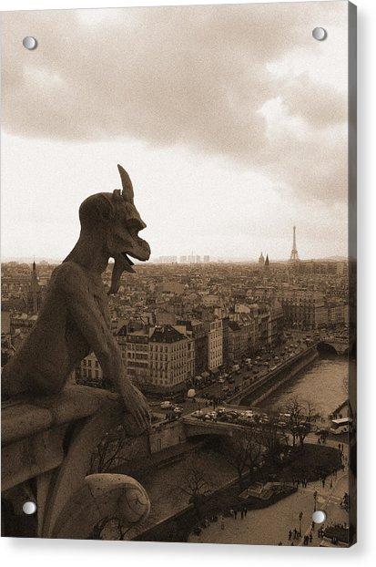 Notre Dame Gargoyle Over Paris Acrylic Print