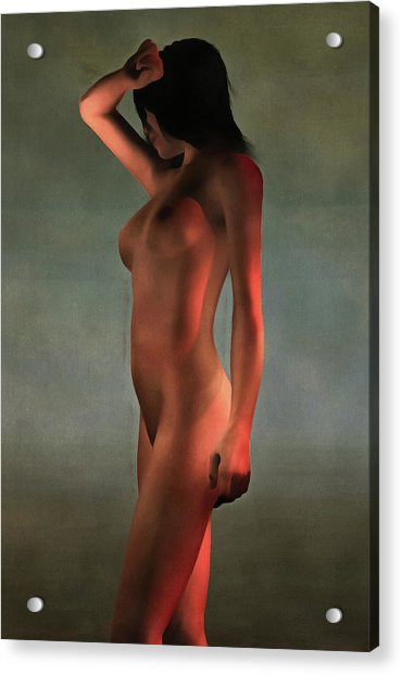 Acrylic Print featuring the painting Nude Standing by Jan Keteleer