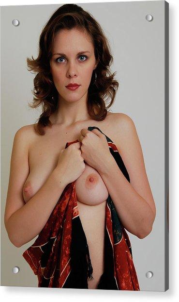 Nude With Sarong Acrylic Print