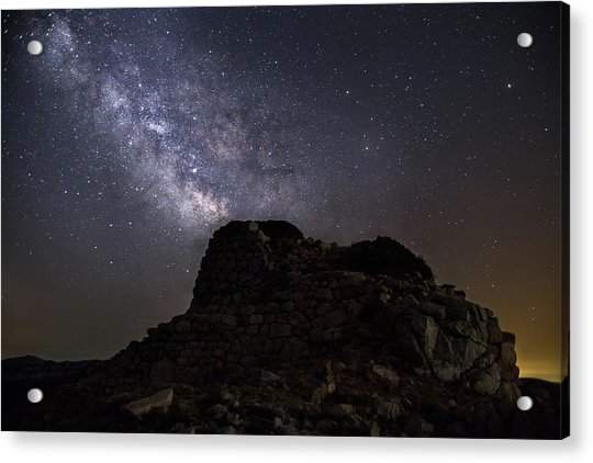 Nuraghe Of Sardinia Under The Stars Acrylic Print