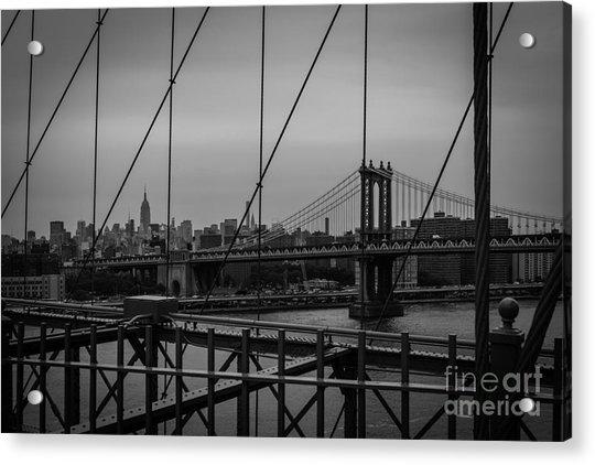 Ny Skyline From Brooklyn Bridge Acrylic Print