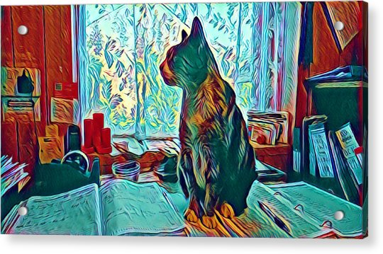 Office Cat Acrylic Print