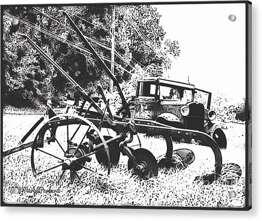 Old And Rusty In Black White Acrylic Print