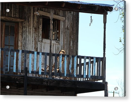 Old Blue Balcony Acrylic Print