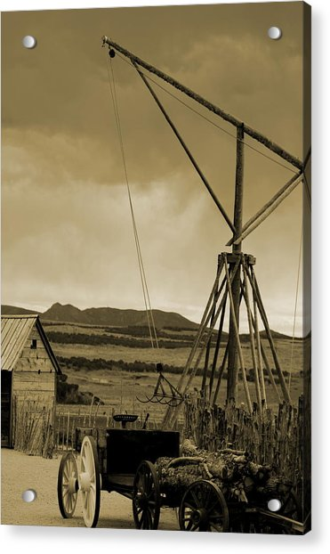 Old Crane And Shed Utah Countryside In Sepia Acrylic Print