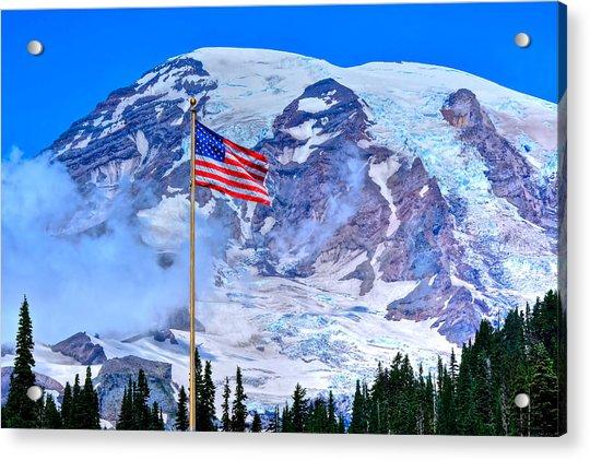 Old Glory At Mt. Rainier Acrylic Print