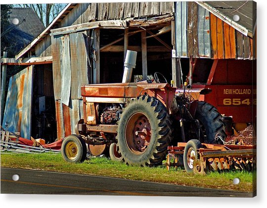 Old Red Tractor And The Barn Acrylic Print