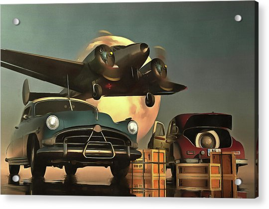 Acrylic Print featuring the painting Old-timers With Airplane by Jan Keteleer