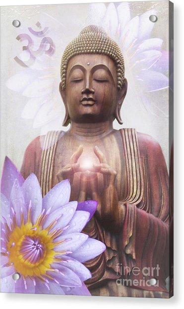 Om Mani Padme Hum - Buddha Lotus Acrylic Print
