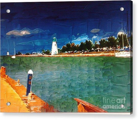 On The Pier At Port Acrylic Print by Deborah Selib-Haig DMacq