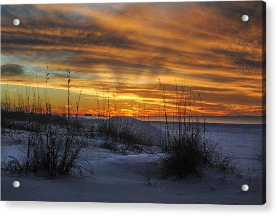 Orange Clouded Sunrise Over The Pier Acrylic Print