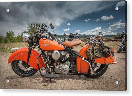 Orange Indian Motorcycle Acrylic Print