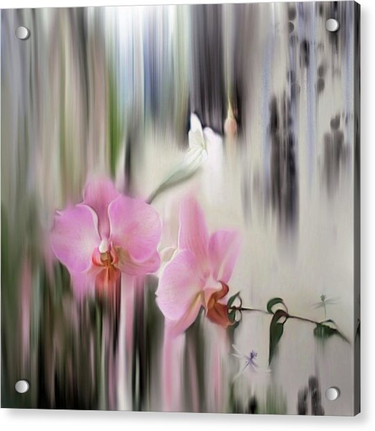 Orchids With Dragonflies Acrylic Print