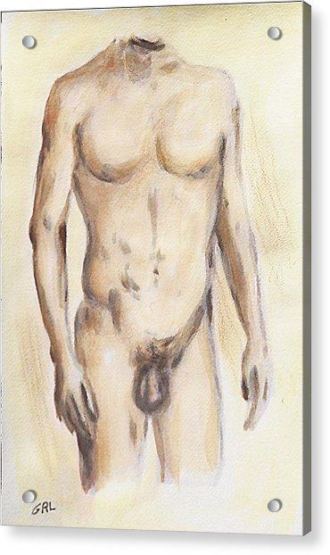Original Painting Of A Nude Male Torso Acrylic Print