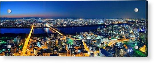 Osaka Night Rooftop View Acrylic Print