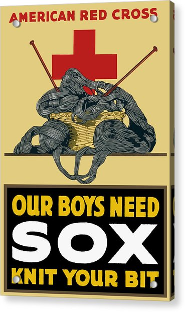 Our Boys Need Sox - Knit Your Bit Acrylic Print