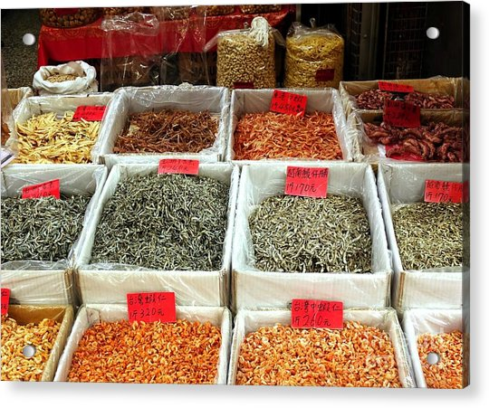 Outdoor Market For Dried Seafood Acrylic Print