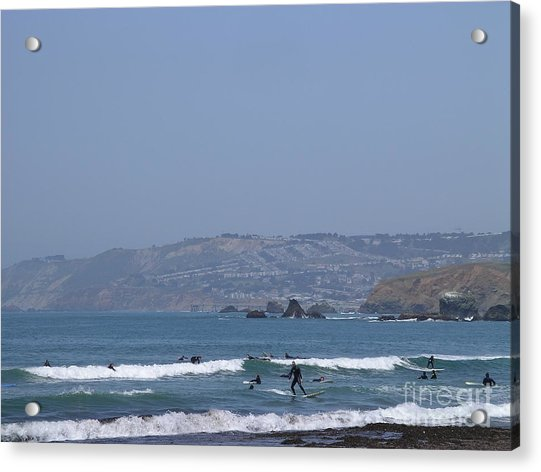 Acrylic Print featuring the photograph Pacifica Surfing by Cynthia Marcopulos