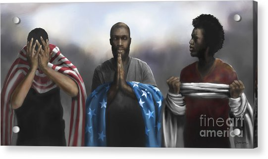 Acrylic Print featuring the digital art Pain, Prayer And Perseverance by Dwayne Glapion