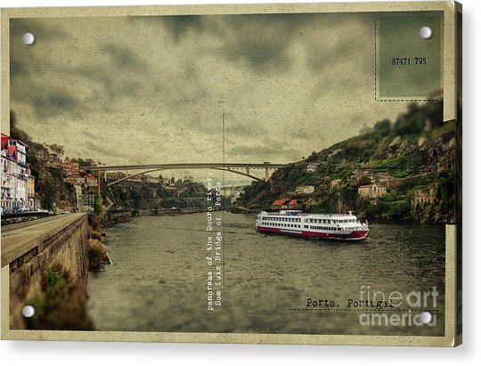 panorama of the Douro river, Dom Luiz Bridge of  Porto, Portugal Acrylic Print