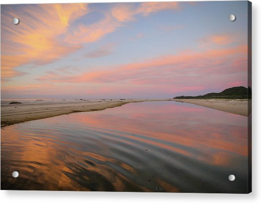 Pastel Skies And Beach Lagoon Reflections Acrylic Print