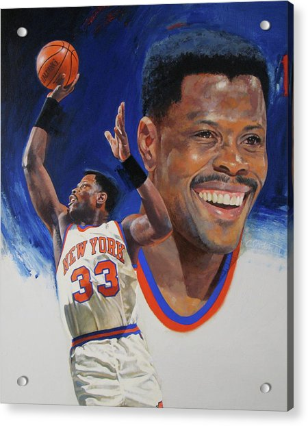 Acrylic Print featuring the painting Patrick Ewing by Cliff Spohn
