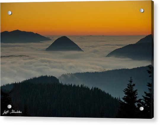Peaks Above The Fog At Sunset Acrylic Print