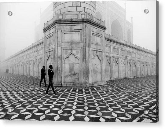 People Walking In Taj Mahal Acrylic Print